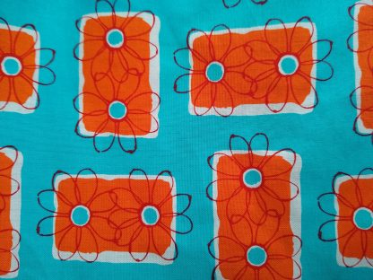 Turquoise & Orange Block Flowers Fabric for Facemasks and
