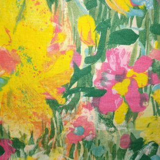 Yellow Painty Flowers Fabric for Facemasks and Wired Rockabilly Hairbands