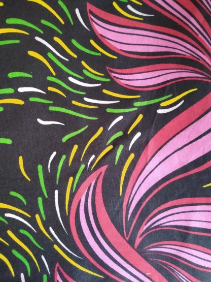 Pink Swirls African Wax Cotton Fabric for face masks and wired rockabilly hairbands