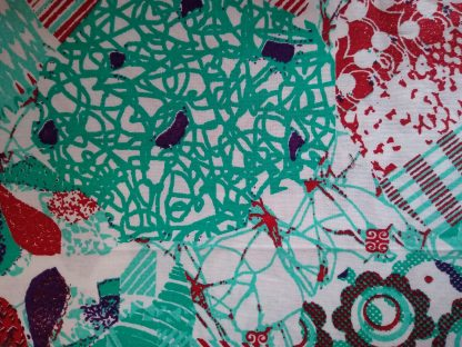Turquoise Scribble Fabric for Face masks and wired rockabilly hairbands