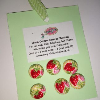 Strawberry handmade cotton covered 15mm buttons