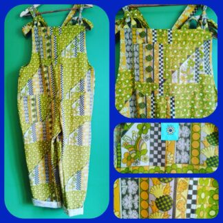 Green 60s curtains dungarees